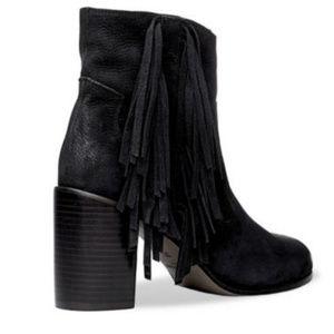 Black Suede Fringe Heeled Ankle Boots